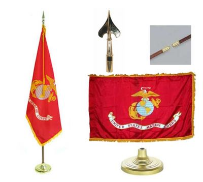 Marines Indoor/Parade Flag Set 3ft x 5ft  guidon
