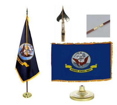 Navy Indoor/Parade Flag Set 3ft x 5ft  guidon