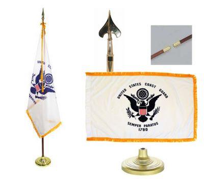 Coast Guard Indoor/Parade Flag Set 4ft x 6ft  guidon